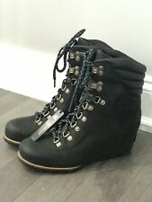 NEW SOREL Conquest Wedge Women's 10 Black Dark Gray Boots MSRP $275
