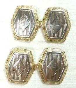 Antique Art Deco Vintage Estate Cufflinks 14K Multi-Tone Gold Initials JP Fine