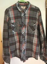 Op Ocean Pacific Men's Blue Orange Gray Plaid Long Sleeve Button Down Shirt XL