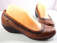 Hush Puppies Body Shoe Womens Brown Leather Slip On Loafers Size 8 M