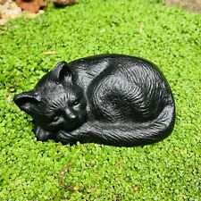 Sleeping Cat Garden Animal Ornament Cast Iron Outdoor Decor