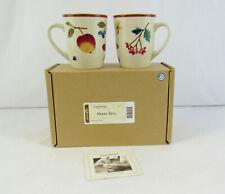 "New Longaberger Pottery ""Berry"" Set Of 2 Coffee Mug Cups #31321"