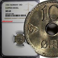 Norway Haakon VII Copper-Nickel 1941 10 Ore NGC MS64 WWII Issue KM# 383