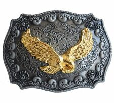 Fibbia Cintura Buckle GOLDEN AMERICAN EAGLE AQUILA Western Cowboy Country (g6)