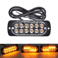 12 LED Amber Strobe Light Bar Flash Warning Emergency Lamp Car Vehicle Bus ATV