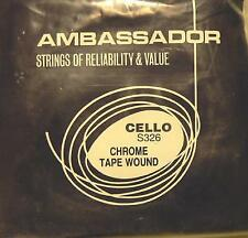 AMBASSADOR CELLO (VIOLONCELLO) STRINGS, SET S326, CHROME TAPE WOUND