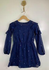 Tommy Hilfiger Girls Size Medium 8-10 Blue Stars Space Ruffle Two Piece Dress