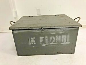 Vintage WOOD CHEST wooden trunk tote box case tool toy gray industrial rustic