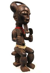 Art Africain Tribal - Statue de Roi Atié Akyé Attié - Maître Sculpteur - 45 Cms