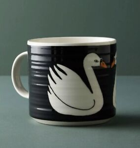 Anthropologie Keep Company Swan Coffee Mug Tea Cup Hand Painted Stoneware