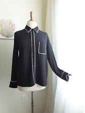 EQUIPMENT FEMME Dark Navy 100% Viscose Rayon TOPSTITCH shirt BLOUSE S P