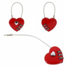 Travel Luggage Small Padlock Wire Combination Lock Key Suitcase Red Heart