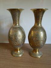 More details for pair of large vintage decorative engraved brass vases
