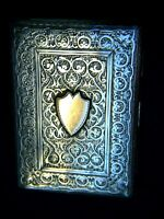 Antique Sterling Silver 9ct Gold Shield Engraved Cards Case Victorian Rare C1887