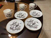ROYAL WORCESTER Fine Bone China PEACOCK Demi-Tasse CUP & SAUCER Gold TrimENGLAND