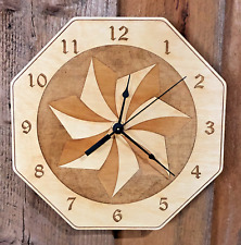 """Span Pattern  10"""" Wall Clock - Wooden - Laser Crafted Gift"""""""