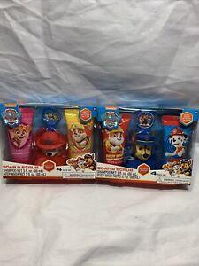 X2 Paw Patrol soap scrub Set shampoo+Body Wash+bath Scrubby & Hooks V2