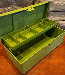 Vintage Oxwall Tool Co Sewing Plastic Sewing Box Avocado Green Made in USA RARE!