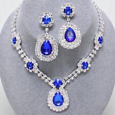 Sapphire Blue Diamante Jewellery Set Sparkly Statement Necklace Set as 0242