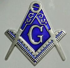 Freemason Masonic cut-out car emblem in silver and blue