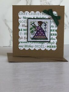 Completed Cross Stitch Fairy  Christmas Card 4x4 Inch