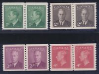 Canada 297-300 MNH OG KG VI Perf 9½ Vert Coil Pairs Set Very Fine