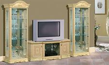 Armoire de salon vitrine en verre 1-türig en beige haute brillance avec LED