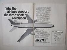 11/1969 PUB ROLLS-ROYCE RB.211 ENGINES LOCKHEED TRISTAR AIRLINER ORIGINAL AD