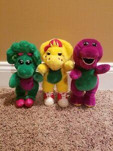 Lot 3 Barney Baby Bop BJ Small Plush Stuffed Animal Dinosaur Green Yellow Purple