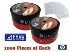 1000-Pack HP 16X Logo Blank DVD-R Recordable Disc + 1000 White Paper Sleeves