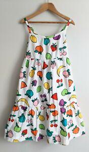 NWOT HANNA ANDERSSON Chasing Summer Cotton Sun Dress White Fruit Print Sz 110 5