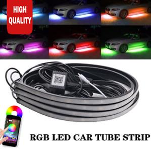 "Phone APP Control RGB LED Car Underbody Neon Atmosphere Light Lamp Kit 35"" 47"""