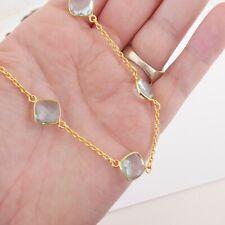 heavy flapper necklace, 29.5 grams Silver gilt aquamarine coloured paste stone