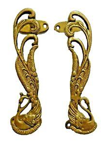 Peacock Bird Design Vintage Finish Handmade Brass Door Handles Set Home Decor