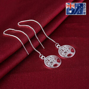 New 925 Sterling Silver Filled Lady's Tree of Life Drop Thread Threader Earrings