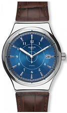 Swatch Irony Sistem 51 Fly Brown Leather Blue Dial Automatic Quartz Watch YIS404