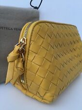 BOTTEGA VENETA INTRECCIATO YELLOW NAPPA LEATHER COSMETIC/MAKE UP BAG & DUSTBAG