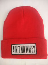 Hip Hop AINT NO WIFEY Men's Beanies Unisex Winter Acrylic knit Red Cool cap Hat