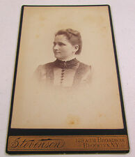 Vintage Stevenson Cabinet Card Black White Young Woman Lady Art Photography