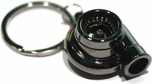 Gunmetal Spinning Turbo Keychain Automotive Part Engine Car Gift Key Chain Ring
