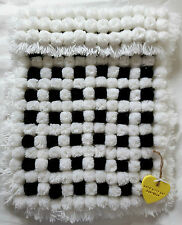 BLACK & WHITE CHECKERED POM POM TURNOVER BABY BLANKET WITH REMOVABLE BOWS