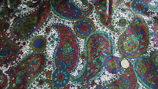 Vintage Polished Cotton Fabric LARGE PAISLEY, BLUE,RED,TURQUOISE,WHITE 1 Yd/44""