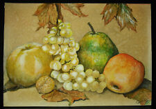 Noix, feuille d'érable & fruits dessin original XIXe Signature à déc still alive
