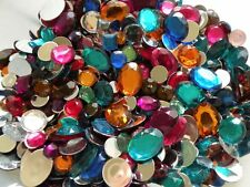 100pc Acrylic Rhinestone Gems Mix Mirror Flat Back 7mm - 25mm Round Square Oval