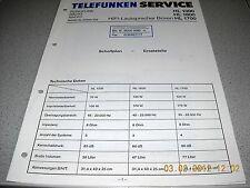Telefunken enterré hl1000 hl1600 hl1700 Service Manual