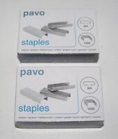 Lot x2 Boite 1000 Agrafes 8/4 Pavo Fourniture de Bureau Box Staples NEUF