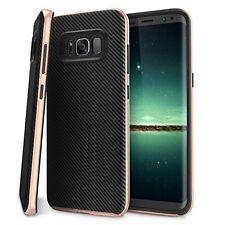 Luxury Samsung Galaxy Carbon Fibre Dual Layer S8 Plus Case + Screen Protectors