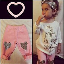 Moda Niñas Bebés Niña Cute Camiseta + Set Leggings Ropa Trajes