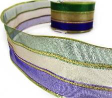 "2 Yds Mardi Gras Triple Striped Sheer Metallic Wired Ribbon 2 1/2""W"