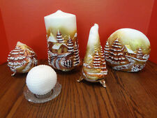 Set of 5 Gold Holiday Candles Made in Italy with Metal and Glass Bases~FAST S/H